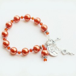 Rosary beads Bracelet faux Pearls orange