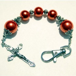 Rosary keychain faux Pearls orange