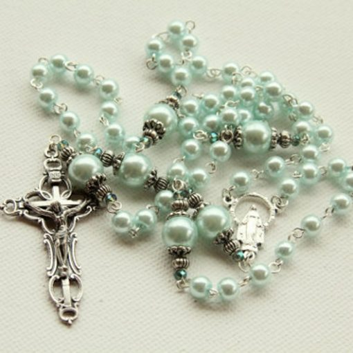 Rosary beads faux pearls blue