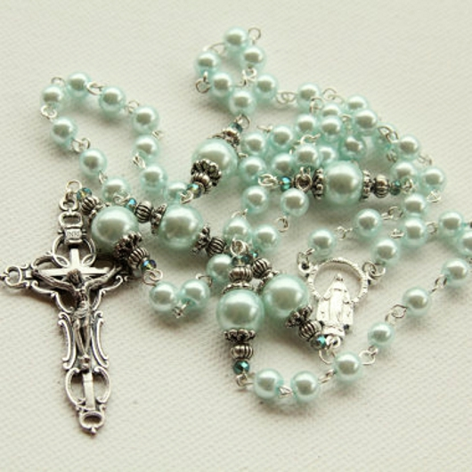 Blue Faux Pearl 6mm Rosary Beads kIwpHCE