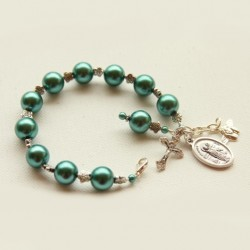 Rosary beads Bracelet faux pearls teal green