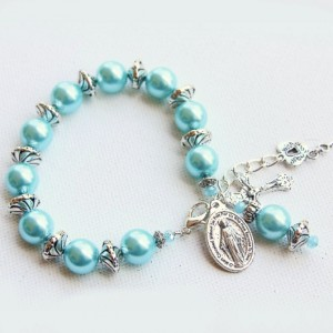 Rosary beads Bracelet faux pearls turquoise