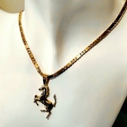 18ct gold Ferrari pendant with 18ct 18kt Gold bar curb chain