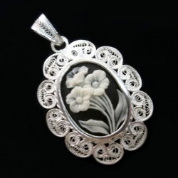 Sterling Silver filigree pendant cameo Flowers