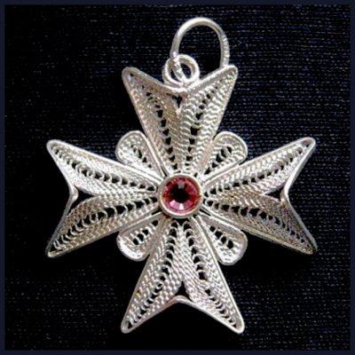 Maltese Cross filigree pendant Sterling Silver 2.5cm pink