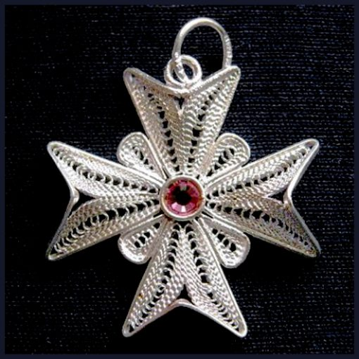 Maltese Cross filigree pendant Sterling Silver 2.5cm pink