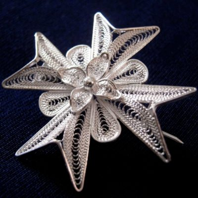 Maltese Cross filigree Brooch Sterling Silver