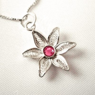 Flower filigree pendant Sterling Silver pink