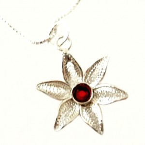Flower filigree pendant Sterling Silver red