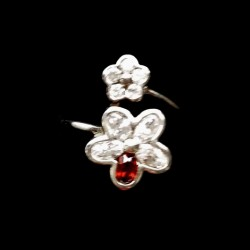 Ring clear garnet zirconia Sterling Silver FLOWERS