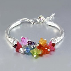 Swarovski Crystal bracelet Flowers Tibetan silver