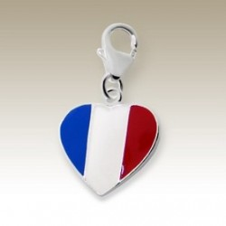 Flag France clip on charm Sterling Silver heart
