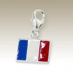 Flag France clip on charm Sterling Silver