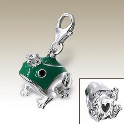 Frog Prince 3D clip on charm Sterling Silver