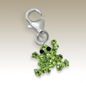 Frog clip on charm Sterling Silver crystals