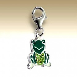 Frog clip on charm Sterling Silver crystal