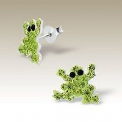 Frog stud earrings Sterling Silver crystal