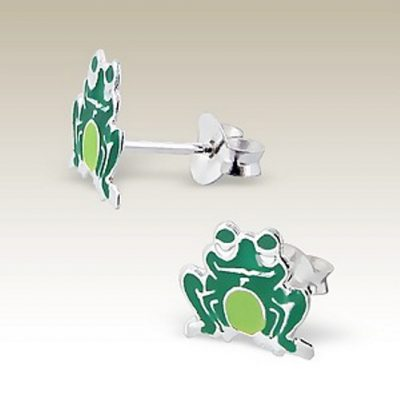 Frog stud earrings Sterling Silver