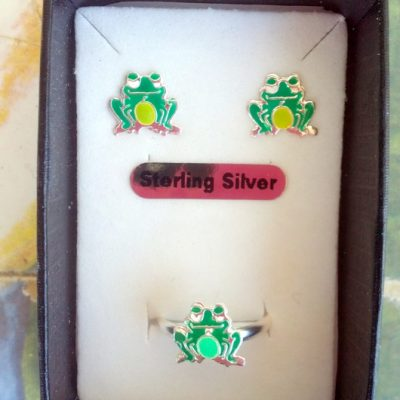 Frog stud earrings ring Set Sterling Silver