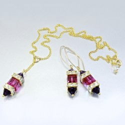 14K gold filled earrings necklace Set Swarovski FUSCHIA I