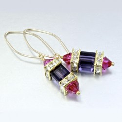 14K gold filled earrings Swarovski FUSCHIA II