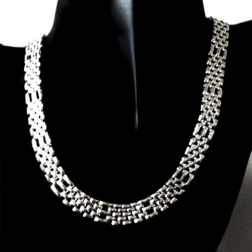 Sterling Silver necklace Panther gate 10mm 43cm VIOR Italy