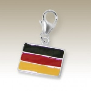 Flag Germany clip on charm Sterling Silver