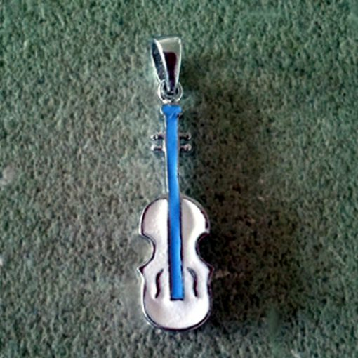 Guitar Pendant charm Sterling Silver