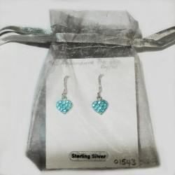 Sterling Silver heart earrings Preciosa crystal aqua