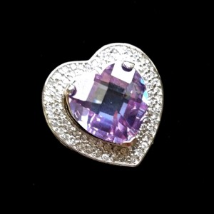 11 carat heart purple zirconia ring Sterling Silver