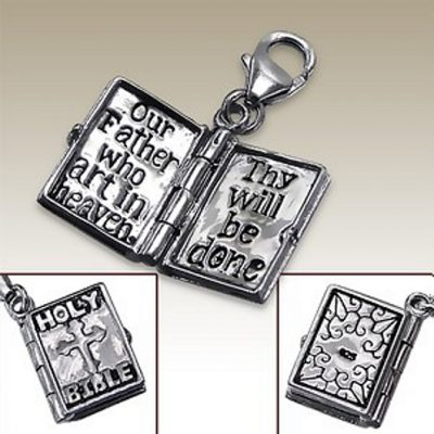 Holy Bible 3D clip on charm Sterling Silver