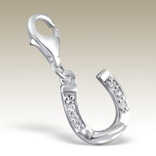 Horseshoe lucky clip on charm Sterling Silver