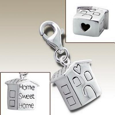 Home sweet home clip on charm Sterling Silver