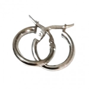 9ct white Gold hoop earrings 14mm Italy