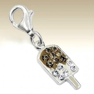 Ice Cream clip on charm Sterling Silver crystal