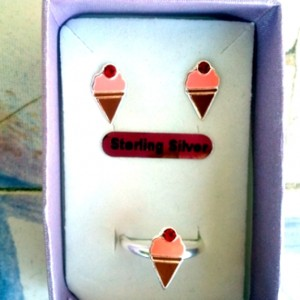 Ice cream stud earrings ring Set Sterling Silver