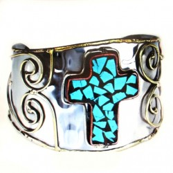 Cross cuff bracelet Turquoise tri colour metal