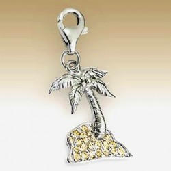 Island clip on charm Sterling Silver crystal