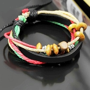 Bracelet Leather beads red