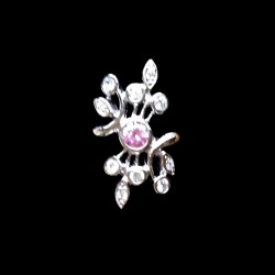 Ring clear pink zirconia Sterling Silver LEAVES
