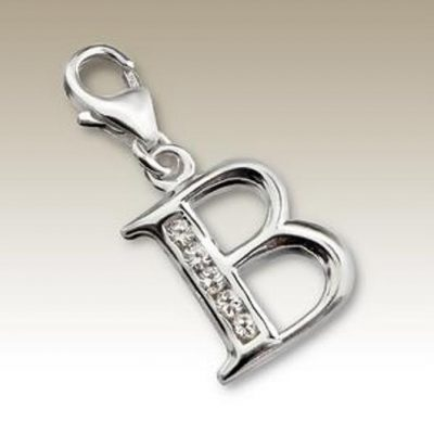 Letter B clip on charm pendant Sterling Silver
