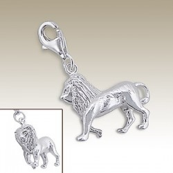 Lion clip on charm Sterling Silver