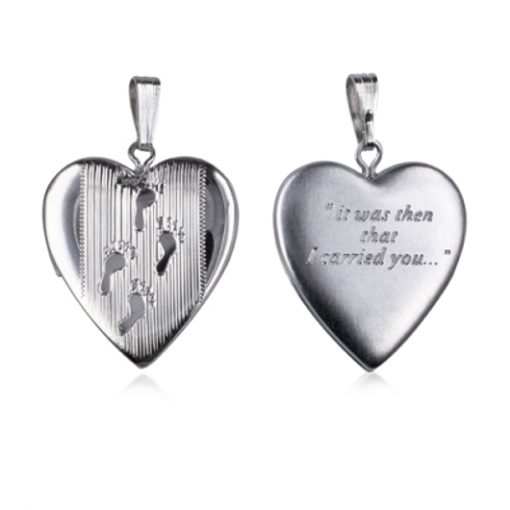 Sterling Silver Footprints locket inscribed on the back it was then that I carried you