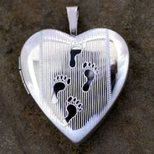Sterling Silver Heart Footprints Locket Opens To Insert Photos