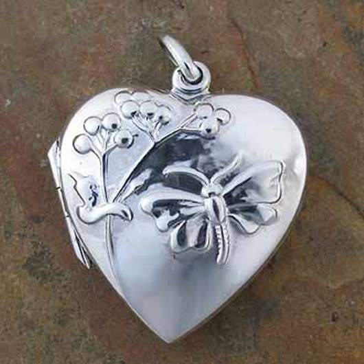 Sterling Silver Heart Butterfly Locket Opens To Insert Photos