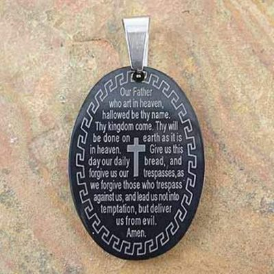Stainless Steel pendant Lords Prayer