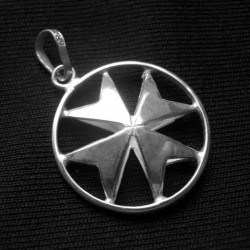Maltese Cross double sided Sterling Silver pendant 15mm
