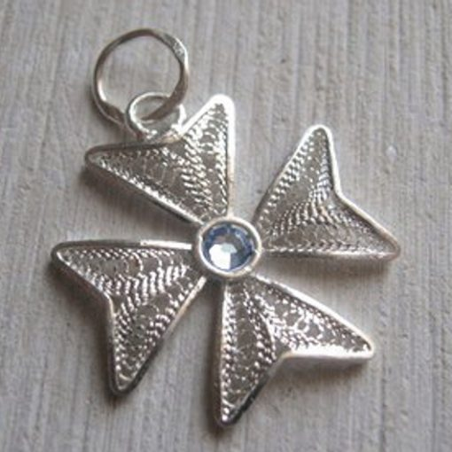 Maltese Cross Filigree pendant Sterling Silver 2cm light blue