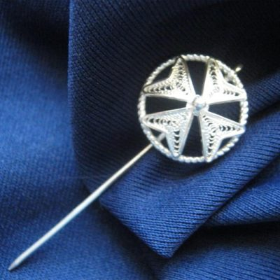 Sterling Silver filigree Maltese Cross lapel tie pin.
