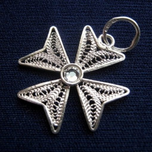 Maltese Cross filigree pendant Sterling Silver 2cm clear